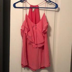 Banana Republic Pink ruffle tank top blouse